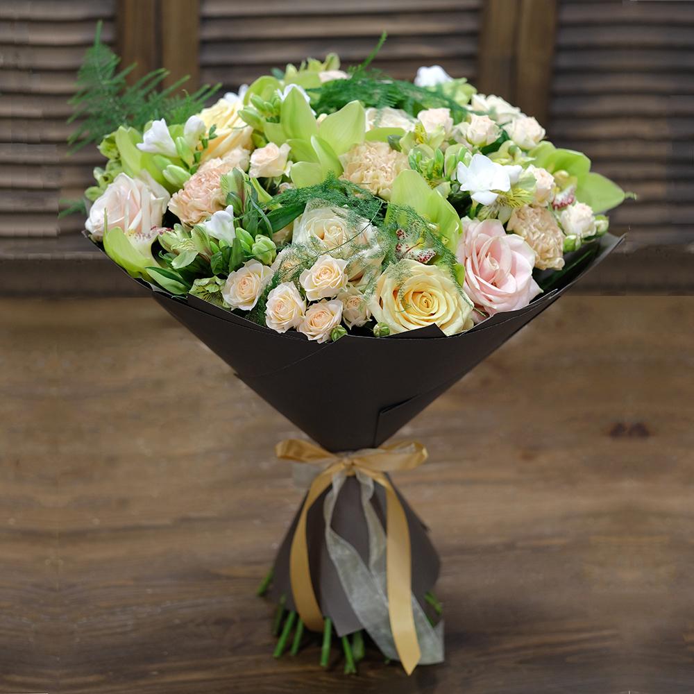 Купить букет премиум класса из орхидей и розы Пермь