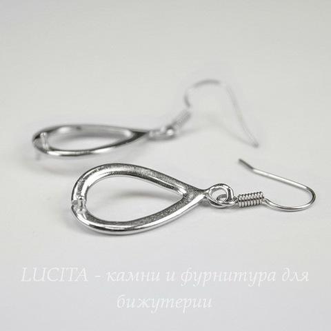 Швензы - крючки с держателем для бусины, 38 мм (цвет - платина), пара