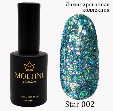 Гель-лак Moltini Premium STAR 002, 15 ml