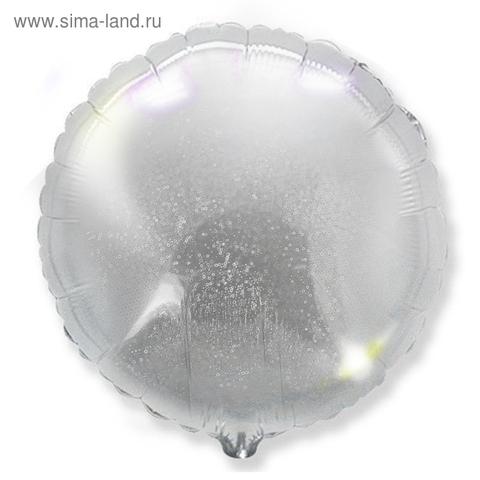 Шар круг 82 см серебро голография