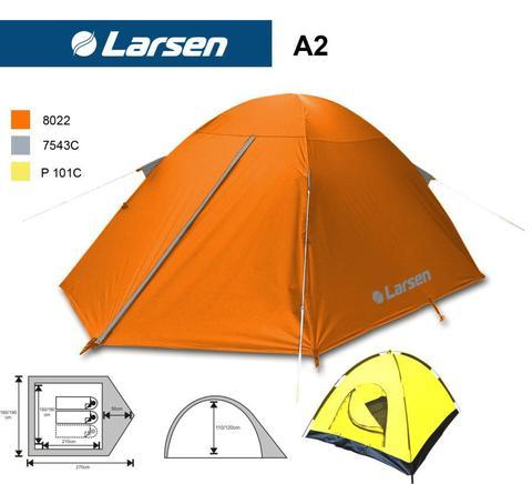 Палатка Larsen 3-х местная 2-х слойная А3 (498) оранж/сер (230*290*130) 2000мм 3,7 кг