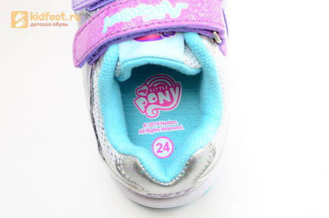 Светящиеся кроссовки для девочек Пони (My Little Pony) на липучках, цвет серебряный, мигает картинка сбоку. Изображение 14 из 15.