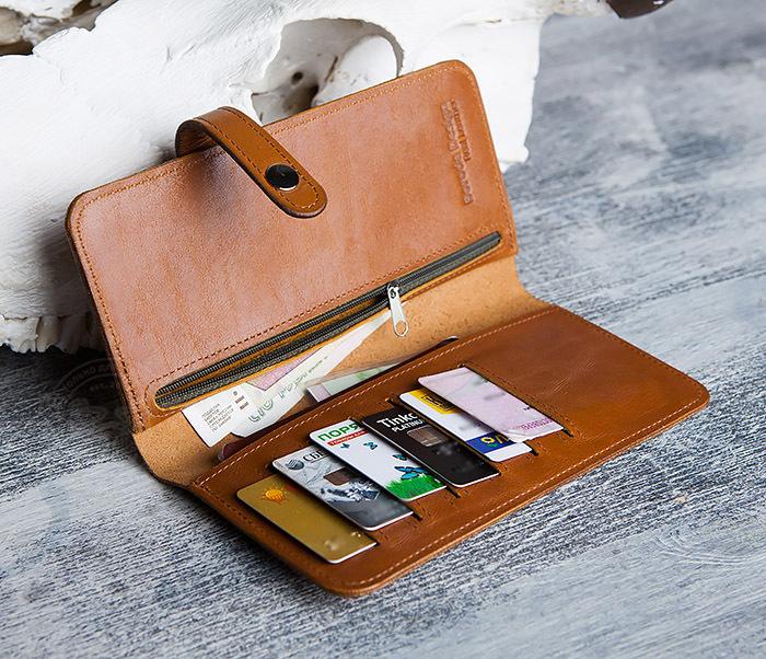 WB111-2 Длинный кошелек ручной работы из натуральной кожи. «Boroda Design» фото 07
