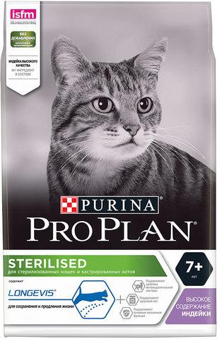 Сухой корм Purina Pro Plan для стерилизованных кошек и кастрированных котов старше 7 лет, индейка