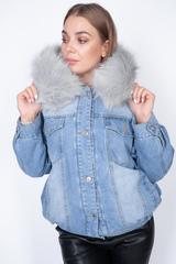 джинсовая куртка с мехом женская зима nadya