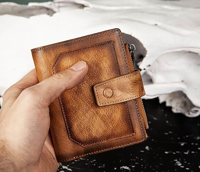 WL330-2 Коричневый мужской кошелек с монетницей на «молнии» фото 11