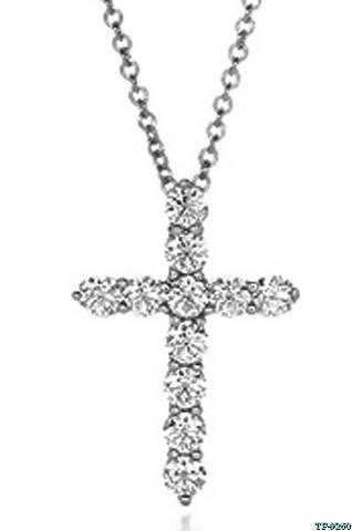 11207 - Крестик (большой) из серебра с цирконами бриллиантовой огранки