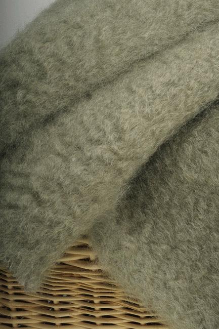 Плед махеровый (зелёный) из шерсти Ангорской козы