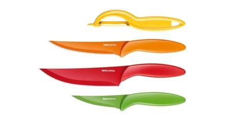 Ножи с неприлипающим лезвием и овощечистка Tescoma PRESTO TONE, комплект 4 шт
