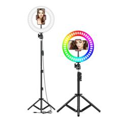 Кольцевая светодиодная лампа цветная RGB LED 26 см со штативом