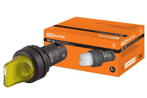 Переключатель на 3 положения с фиксацией SB7-CK3565-220V короткая ручка(LED) d22мм 1з+1р желтый TDM