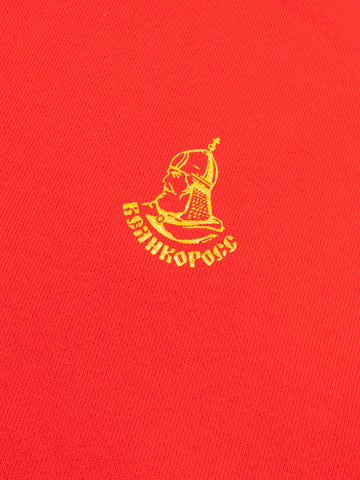 Худи красного цвета с лампасами, без логотипа. Плотный футер