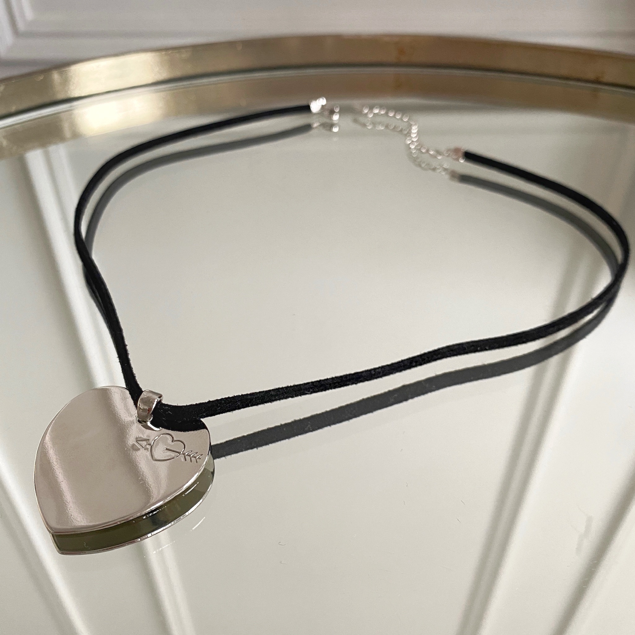 Кулон на шнуре Сердце (серебристый)