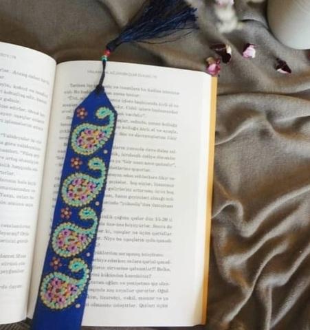 Dəri əlfəcin \  Кожаная закладка \ Leather bookmark (buta)