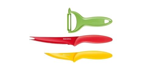 Ножи с неприлипающим лезвием и овощечистка Tescoma PRESTO TONE, комплект 3 шт