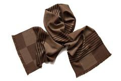 Шерстяной шарф коричневая клетка 01152