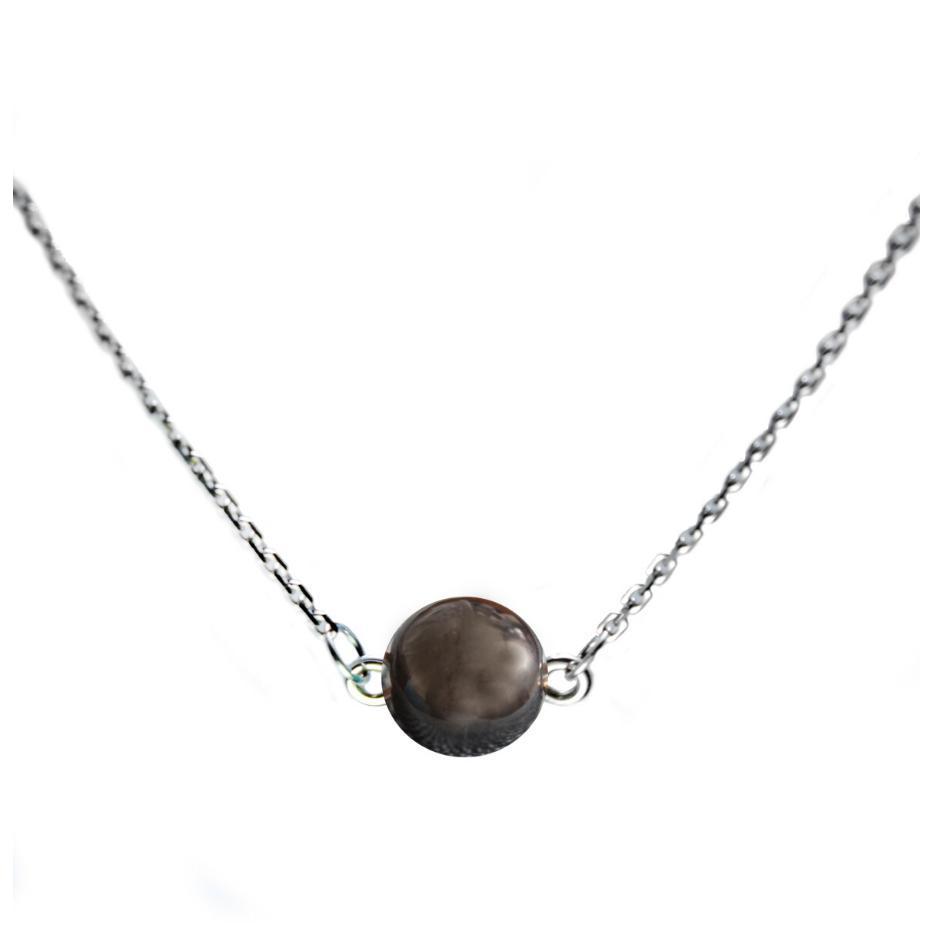 Серебряное колье с гематитом на цепочке с крупными звеньями