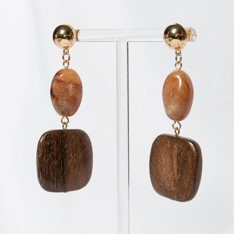 Серьги-подвески с акрилом и деревом