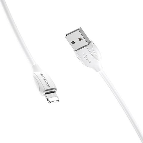 Кабель Borofone BX19 USB (m)-Lightning (m) 1.0м 2.4A силикон белый (1/648)