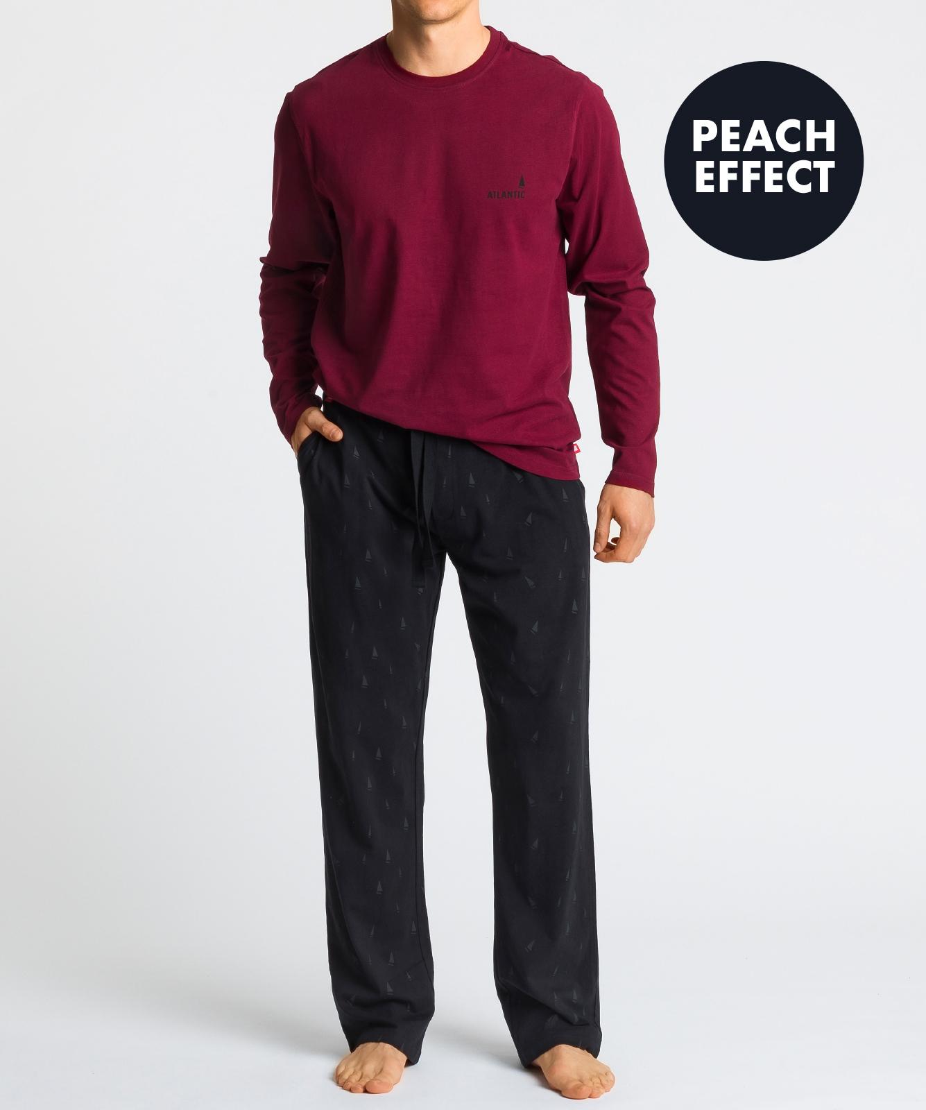 Мужская пижама Atlantic, 1 шт. в уп., хлопок, темно-красная, NMP-348