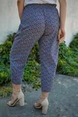 Міранда. Укорочені літні брюки плюс сайз. Пудра ромб.