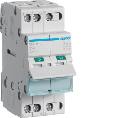 Выключатель-разъединитель (рубильник), 3P, Ie=16A 400В 50/60Гц, AC22A, Ui=500В, ширина 2M; арт. SBN316