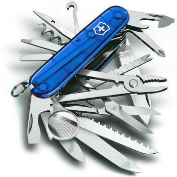 Складной многофункциональный нож Victorinox SwissChamp (1.6795.T2) 91 мм., 33 функции, цвет синий полупрозрачный - Wenger-Victorinox.Ru