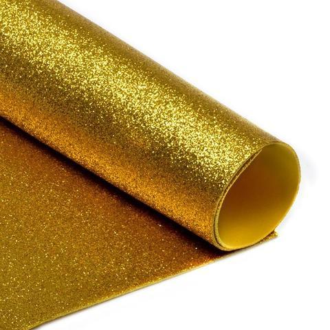 Глиттерный фоамиран. Цвет: золотой