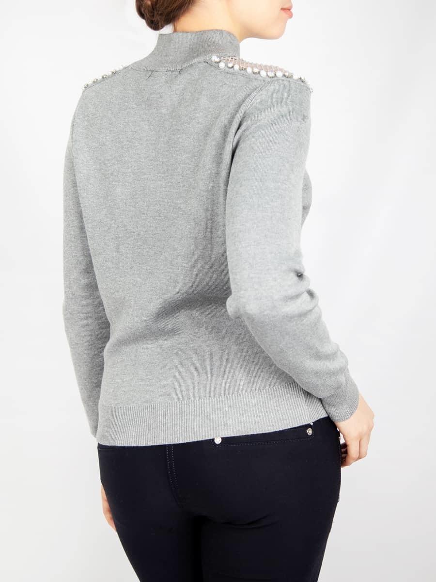 Кофта женская со стразами и жемчугом на плечах