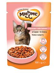 Пауч для кошек Мнямс с лососем в соусе, кожа и шерсть