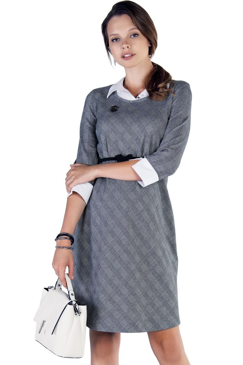 Фото платье для беременных EBRU от магазина СкороМама, клетка, серый, размеры.