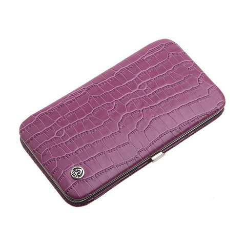 Маникюрный набор GD, 7 предметов, цвет розовый, кожаный футляр