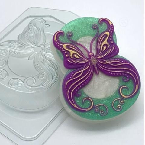Пластиковая форма для шоколада жен. ВОСЬМЕРКА БАБОЧКА В ЗАВИТУШКАХ 90х60мм