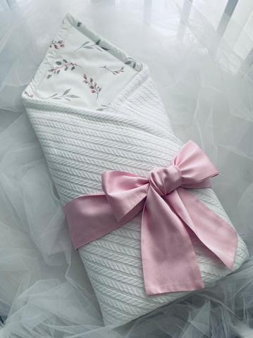Конверт-одеяло для новорожденных вязка цвет белый/розовый