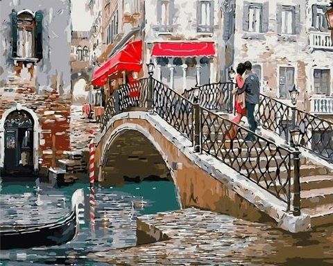 Картина раскраска по номерам 40x50 Влюбленные на мосту