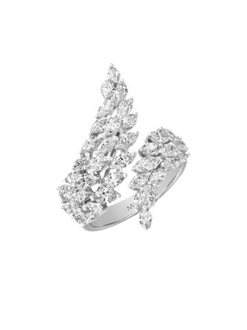 47927- Оригинальное кольцо ANGEL в форме крыльев из серебра с цирконами