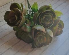 Суккулент искусственный, каменная роза, букет 5 голов, 28 см.