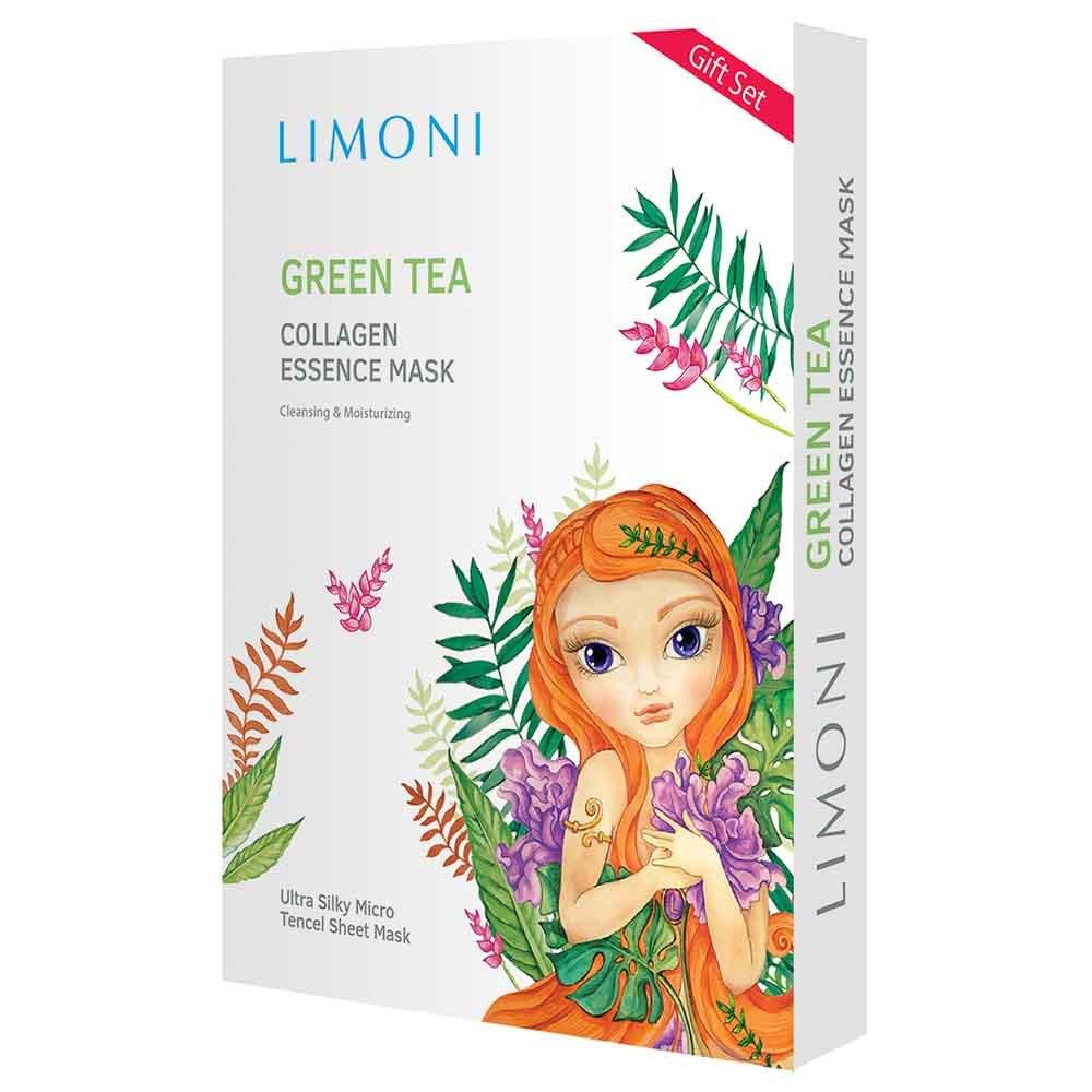 Маски для лица тканевые тонизирующие с Зеленым чаем и Коллагеном