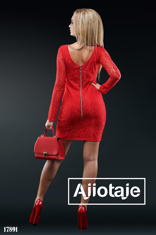 Платье мини красного цвета с вырезом на спинке