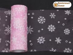 Фатин со снежинками розовый ширина 15 см