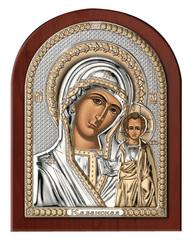 Серебряная икона Божией Матери Казанской