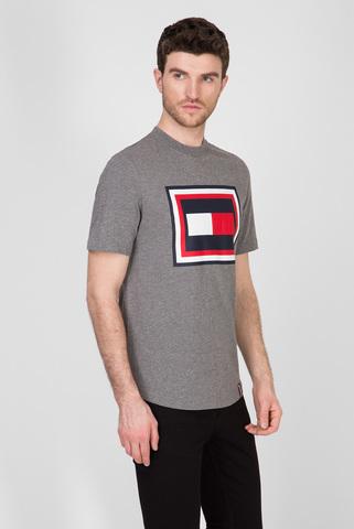 Мужская серая футболка HILFIGER FRAME RELAXED Tommy Hilfiger