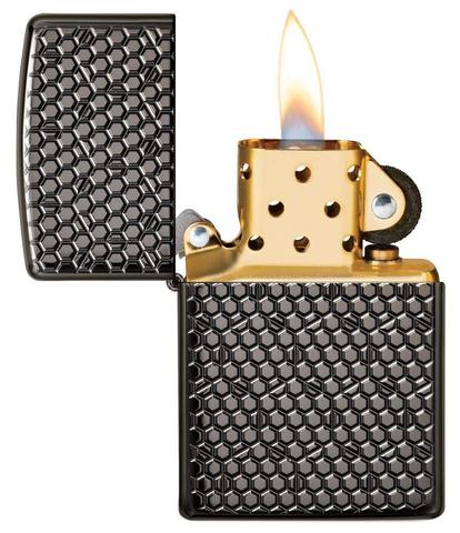 Зажигалка Zippo Armor с покрытием Black Ice, латунь/сталь, чёрная, глянцевая, 36x12x56 мм123