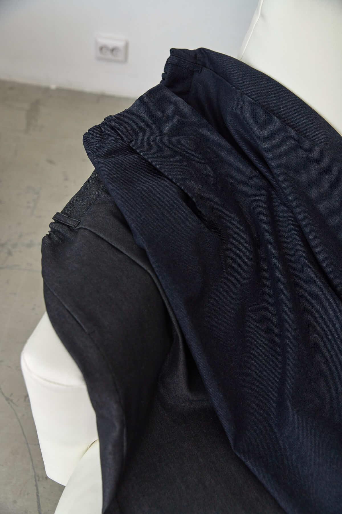 Брюки-слоуч, темно-синяя шерсть