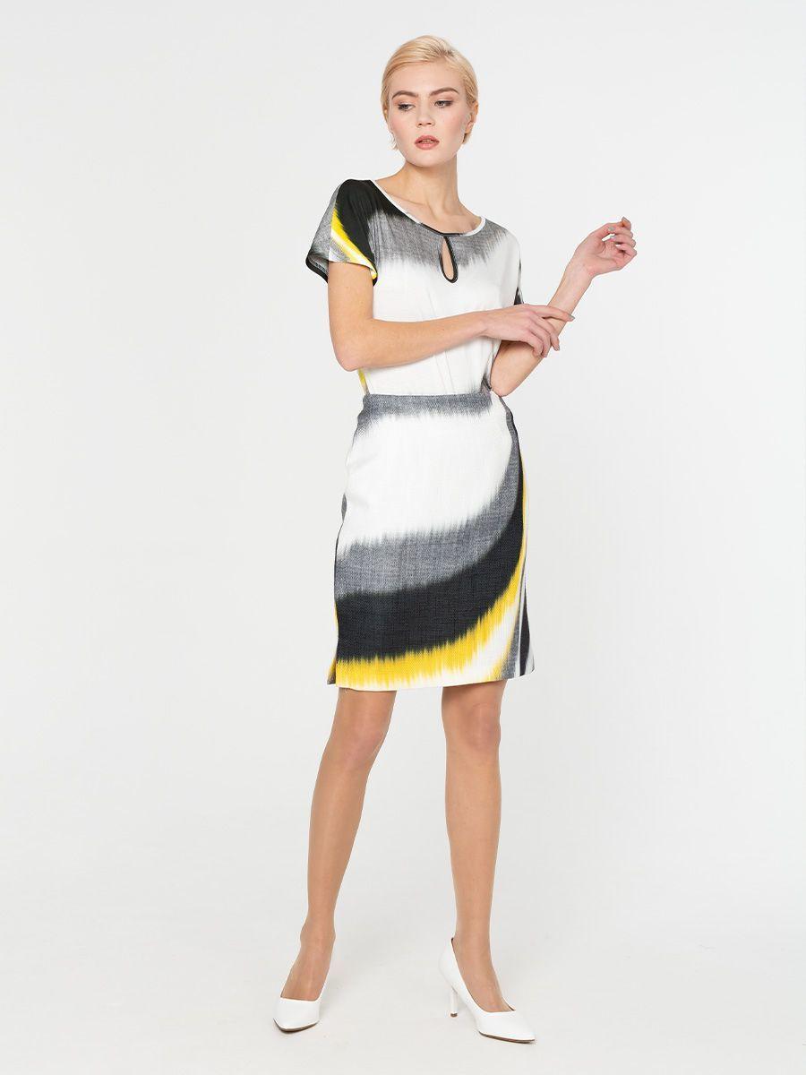 Юбка Б077-522 - Прямая юбка с необычным оригинальным принтом.