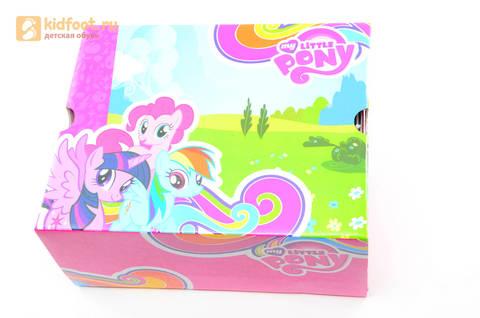 Светящиеся кроссовки для девочек Пони (My Little Pony) на липучках, цвет серебряный, мигает картинка сбоку. Изображение 15 из 15.
