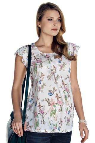 Блузка для беременных 08482 белый/принт цветы