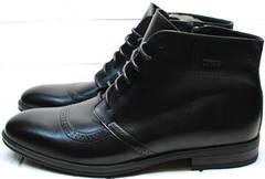 Черные кожаные мужские ботинки на толстой подошве Ikoc 3640-1 Black Leather.