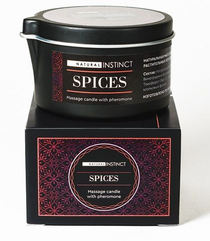 Массажная свеча с феромонами Natural Instinct SPICES - 70 мл.