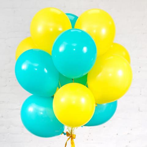 25 шаров 36 см мятный и жёлтый